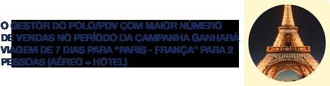 """O PROPRIETÁRIO DO POLO COM MAIOR NÚMERO DE VENDAS NO PERÍODO DA CAMPANHA GANHARÁ VIAGEM DE 7 DIAS PARA """"PARIS - FRANÇA"""" PARA 2 PESSOAS (AÉREO + HOTEL)"""